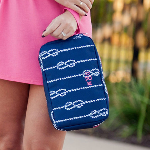 nautical knot navy cosmetic bag