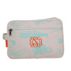monogrammed sealife cosmetic bag