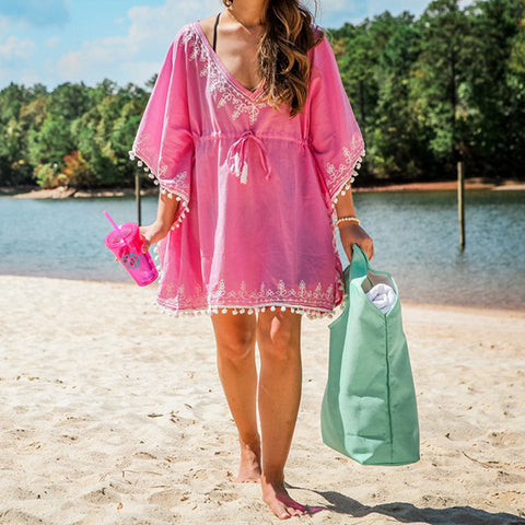 hot pink cover up with monogram