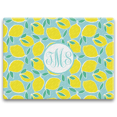 Rectangle Monogram Cutting Board - Lemon Fresh