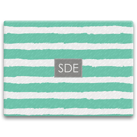 Rectangle Monogram Cutting Board - Painted Stripe