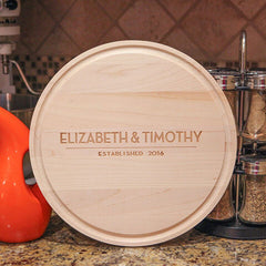 cutting board with names and est. date