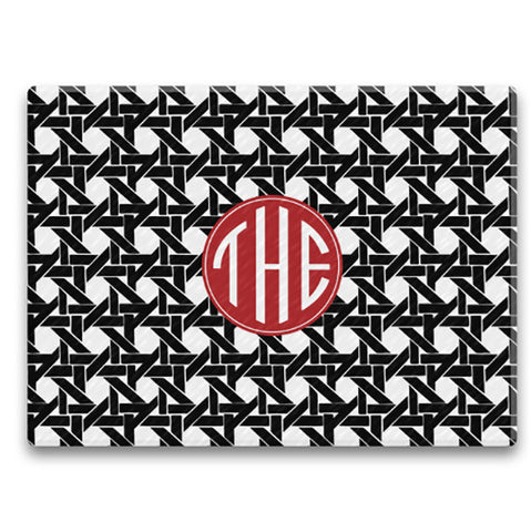 Rectangle Monogram Cutting Board - Basketweave