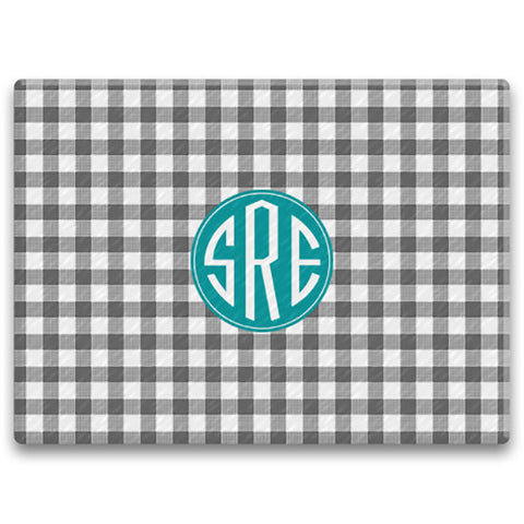 Rectangle Monogram Cutting Board - Gingham