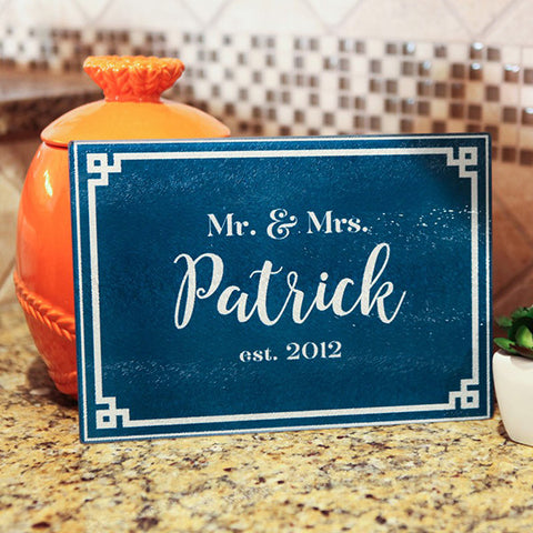 Personalized Glass Cutting Board - Navy Greek
