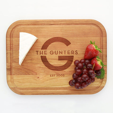 Cherry Wood Cutting Board - Initial And Name
