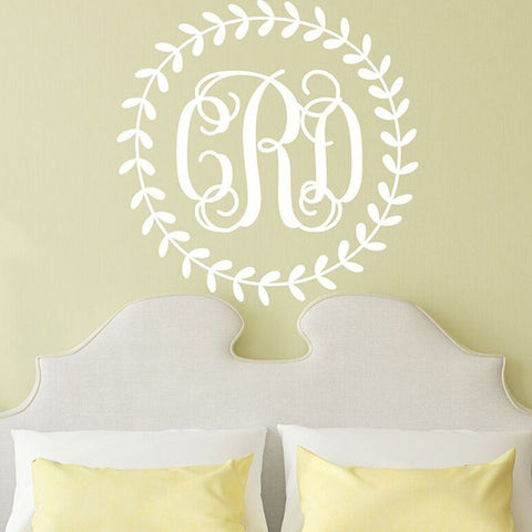 Wreath Monogram Decal - Interlock
