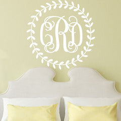 Wreath Monogram Decal