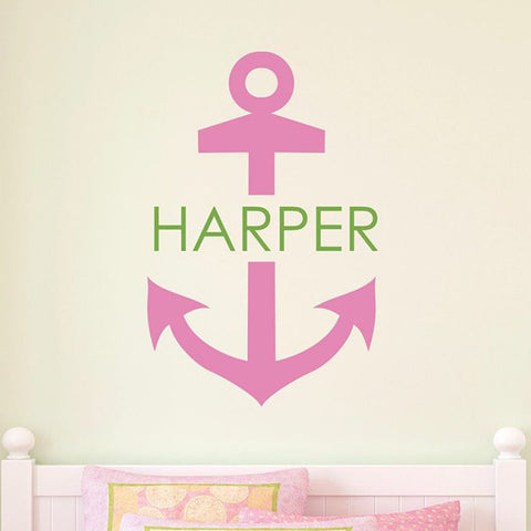 Anchor And Name Personalized Wall Decal - Block
