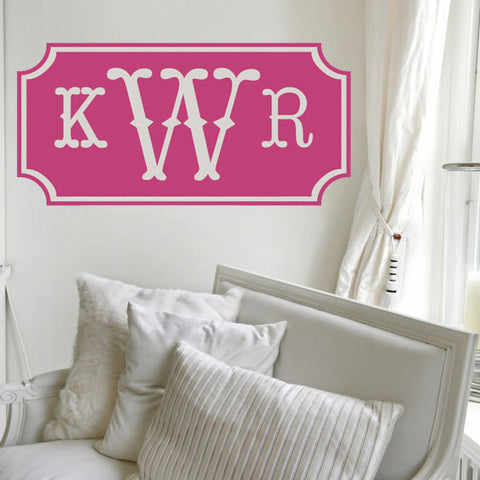 Vintage Solid Monogram Wall Decal - Design It
