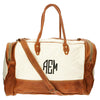 white monogram color block duffle