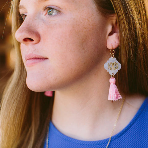 Acrylic Tassel Dangle Earrings - Quatrefoil