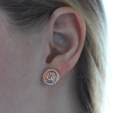 rose gold and cz earrings