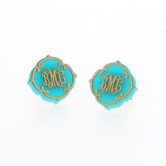 lace design monogram earrings