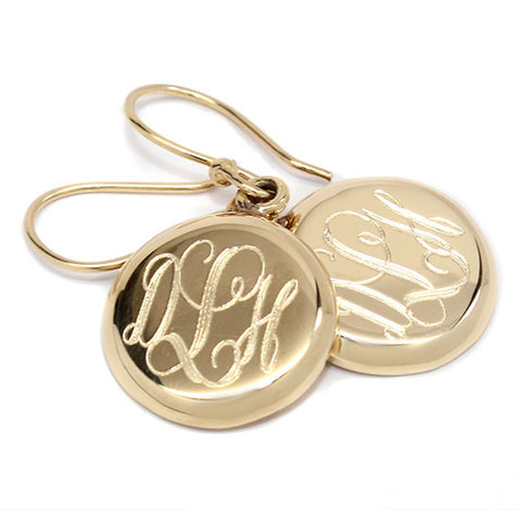 Round Gold Plate Monogram Earrings
