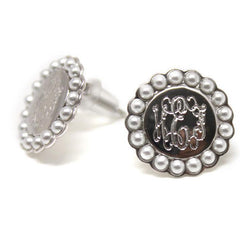 Monogram Sterling Silver Post Earrings - Pearl Rim