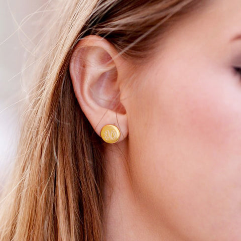 Monogram Gold Tone Round Post Earrings