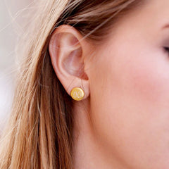 small round gold post earrings