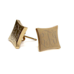 gold tone monogram square earrings