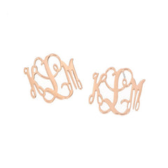 rose gold monogram earrings