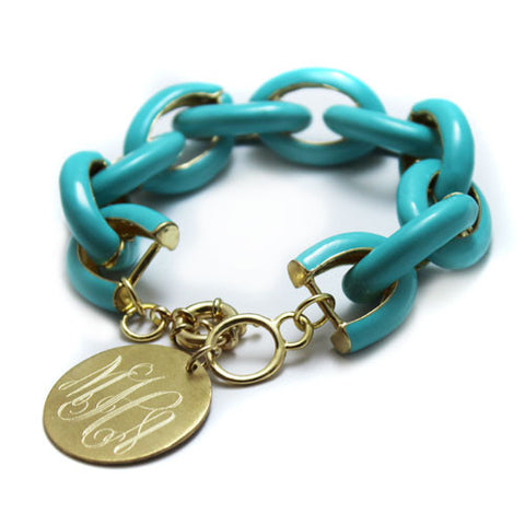 Monogram Enamel Link Bracelet - Choose Color