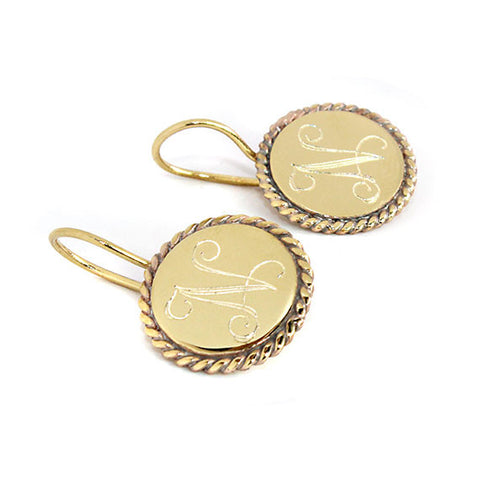 Gold Monogram Earrings With Trim