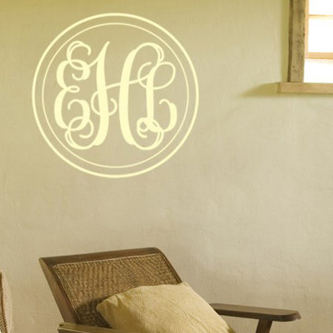 Fancy Double Circle Monogram Decal