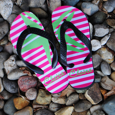 Lime Starfish Flip Flops