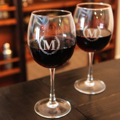 monogrammed red wine with stems