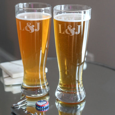 Monogram Pilsner Glasses