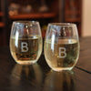 white stemless wine glasses