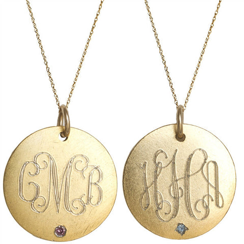 Medium Gold Monogram Birthstone Disk Necklace