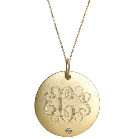 Medium Monogram Gold Vermeil Diamond Necklace