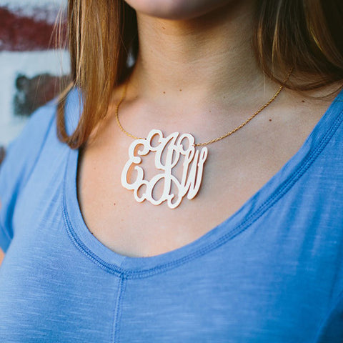 Gold Interlock Monogram Necklace