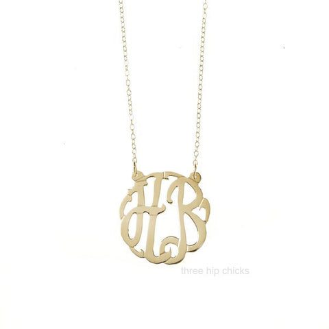 Two Initial Gold Monogram Necklace