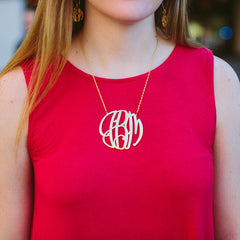 modern gold monogram necklace in 4 sizes