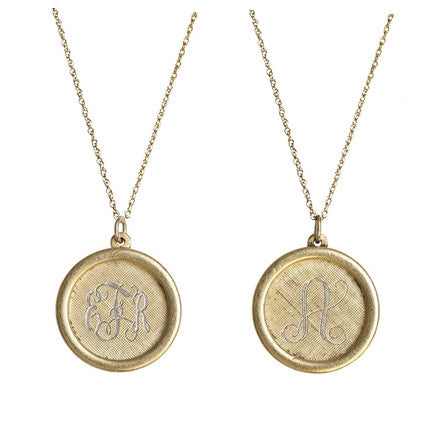 Large Antiqued Rim Gold Monogram Necklace