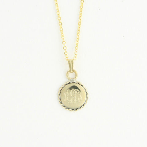 Gold Tone Monogram Necklace - Round Braid