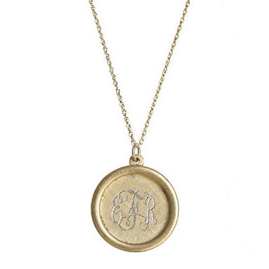 Large Rim Antiqued Gold Monogram Necklace