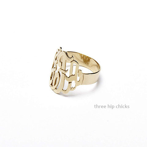 Initial Gold Monogram Ring