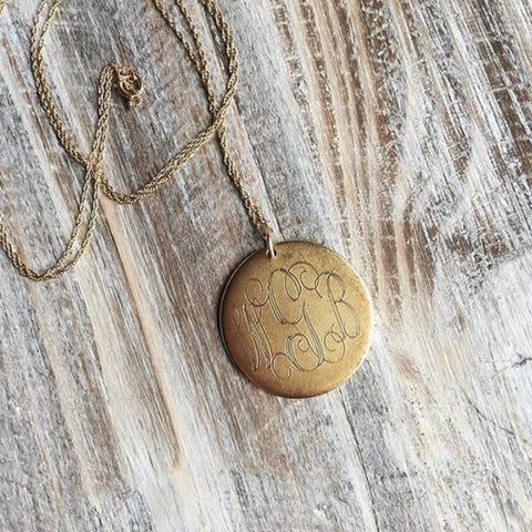 Large Antiqued Gold Monogram Disk Necklace