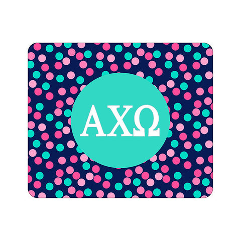 Sorority Greek Mouse Pad - Confetti Dots