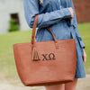 greek camel tassel bag