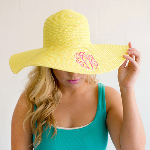 Monogram Floppy Beach Hat - Yellow