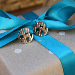 Image of Block Monogram Earrings Gold on gift package