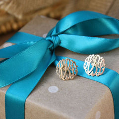 Script Monogram Earrings - Gold on gift package
