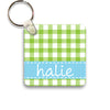 lime gingham keychain