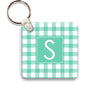 mint gingham keychain