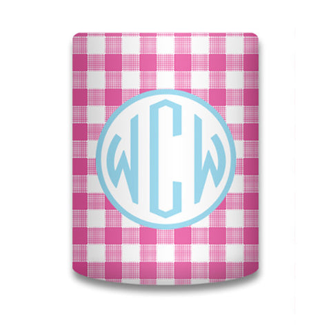 Monogram Can Koozie - Gingham