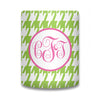 Houndstooth Monogram Koozie - Lime